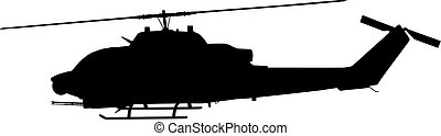 Helicopter silhouette - Military helicopter vector...