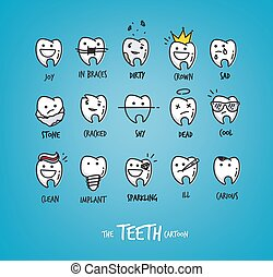 Teeth happy characters