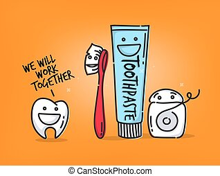 Teeth cartoons orange
