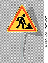 Road signs. Roadworks on transparent background. Vector...