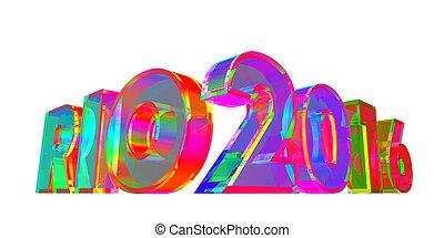 Rio 2016 Multicolored Glass Sign. 3D Illustration