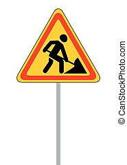 Road signs. Roadworks. Vector Illustration on White EPS10