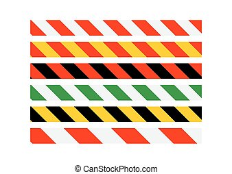 Road signs Types of multi-colored road warning bands Vector...