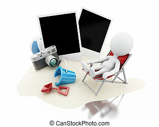 3d White people with beach toys, camera and photos. - 3d...
