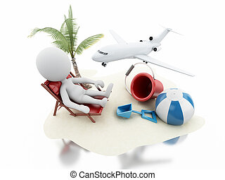 3d White people with beach toys and airplane. - 3d renderer...