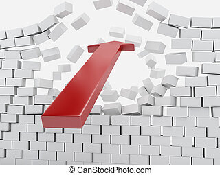 3d Red arrow breaking brick wall.