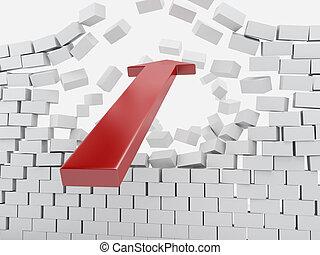3d Red arrow breaking brick wall.