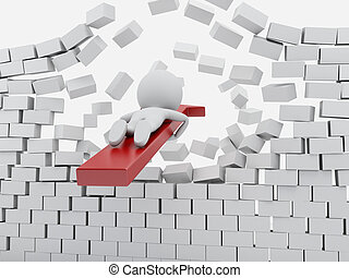 3d White people with red arrow breaking brick wall.