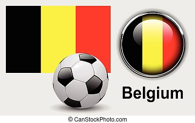 Belgium flag icons with soccer ball, vector design