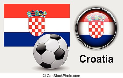 Croatia flag icons with soccer ball, vector design.