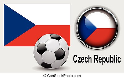 Czech Republic flag icons with soccer ball, vector design.