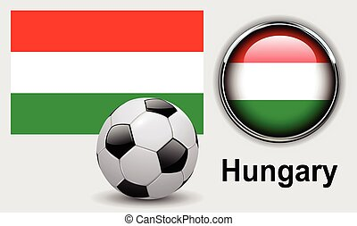 Hungary flag icons with soccer ball, vector design