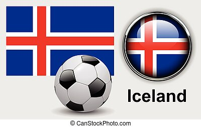 Iceland flag icons with soccer ball, vector design.
