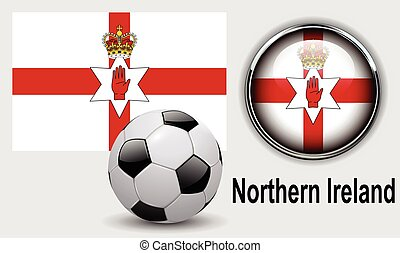 Northern Ireland flag icons with soccer ball, vector design.
