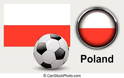 Poland flag icons with soccer ball, vector design