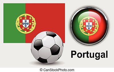Portugal flag icons with soccer ball, vector design