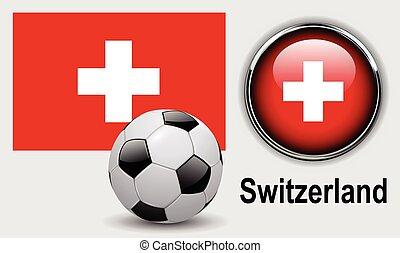 Switzerland flag icons with soccer ball, vector design