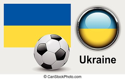 Ukraine flag icons with soccer ball, vector design.