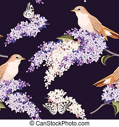 Seamless lilac and birds - Varicolored lilac and birds...