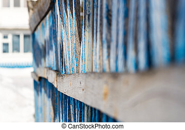 Diminishing Perspective Blue Wooden Fence - Old blue wooden...