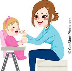 Mother Feeding Baby - Mother feeding baby with spoon sitting...