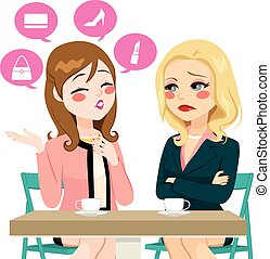 Women Boasting Gossiping - Young girl gossiping boasting...