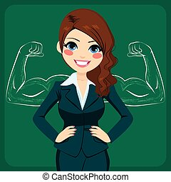 Strong Business Woman - Pretty young beautiful businesswoman...