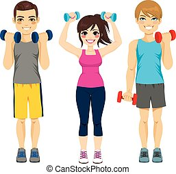 Fitness Dumbbell Group - Small group of people doing fitness...