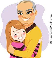 Girl hugging Grandfather - Cute little lovely girl hugging...