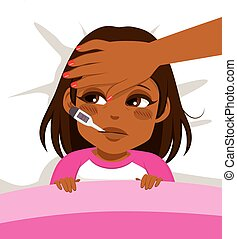 Girl Ill In Bed - Little African American girl ill in bed...