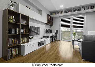 Bright living room - Bright and modern living room with...