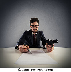 Force you to sign an agreement - Man with gun and pen to...