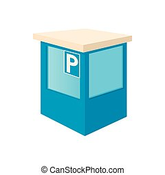 Parking toll booths icon, cartoon style - Parking toll...