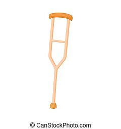 Crutch for the disabled icon, cartoon style - Crutch for the...
