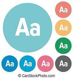Flat font size icons - Flat font size icon set on round...
