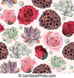 Seamless succulent and roses - Colorful succulent, lotus pod...