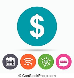 Dollar sign icon. USD currency symbol. - Wifi, Sms and...