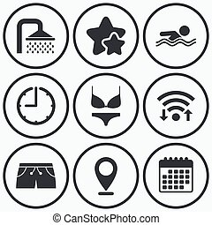 Swimming pool icons Shower and swimwear signs - Clock, wifi...
