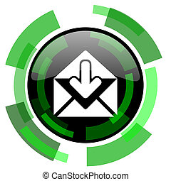email icon, green modern design isolated button, web and...