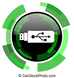 usb icon, green modern design isolated button, web and...