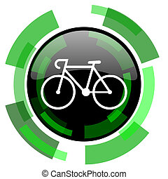 bicycle icon, green modern design isolated button, web and...