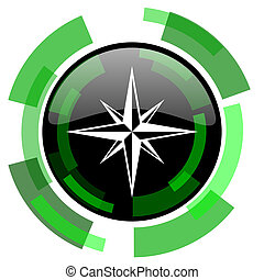 compass icon, green modern design isolated button, web and...