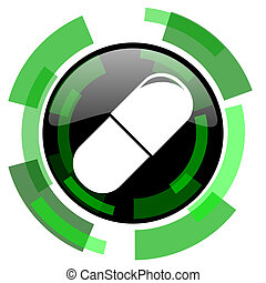 drugs icon, green modern design isolated button, web and...