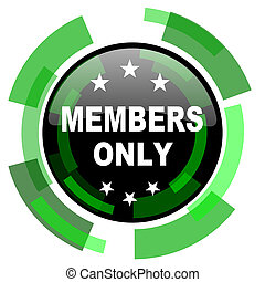 members only icon, green modern design isolated button, web...
