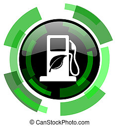 biofuel icon, green modern design isolated button, web and...