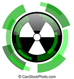 radiation icon, green modern design isolated button, web and...