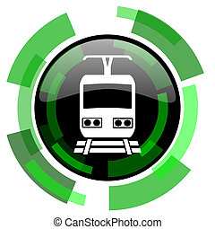 train icon, green modern design isolated button, web and...