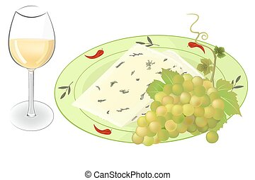 Cheese, grapes and wine vector