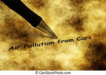 Air pollution from cars grunge concept