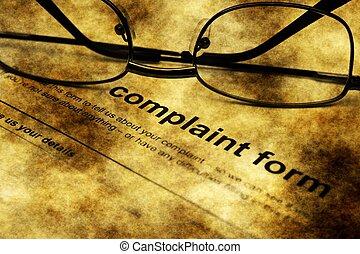 Complaint form grunge concept